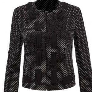 CAbi black & white polka dot jacket size 4